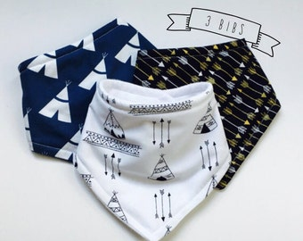 3 Bibs Bandana pick 3 Boys, you choose the print and the backing fabric, triple layer, drooler bibs