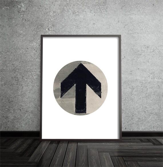 Minimalist, Arrow, Distressed, Industrial, Modern, Contemporary, Circle Print, Abstract, Art, Poster, Mid Century Modern, Geometric
