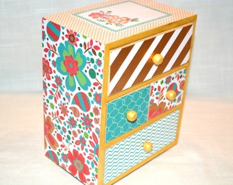 Floral/Paisley/Chevron Multi drawer jewelry or trinket box.  Teal/Coral/Gold/White. Makes an ideal gift for Friend, Bridesmaid, Sister, Mom.