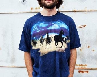 ON SALE Vintage 90s Grunge Running Wild Horses Scene Blue Tie Dye Dark Wash T Shirt Xxl