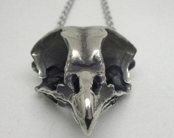 Owl Skull Necklace, White Bronze