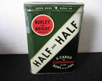 Vintage Half and Half Tobacco Pocket Tin