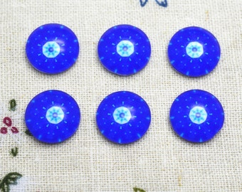 10pcs 12mm Round Handmade Photo Glass Cabochon - Flower