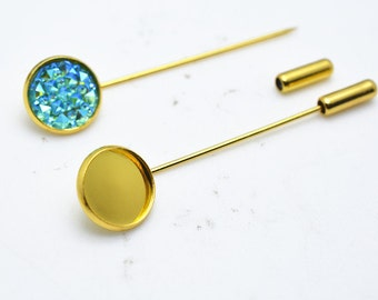 10pcs Gold Tone Brass Stick Pin Lapel Pin Clutch Broach Blanks 60mm Long With 18mm Base Setting Brooch M502-4