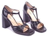 Black SNAKE Effect Block Heel SANDALS 90s T Strap Vintage Chunky Heeled Black Real Leather Square Open Toe Shoes Summer Us 7.5, Eur 38, Uk 5