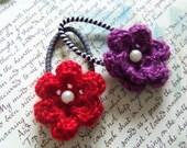 Red and Purple Crochet Flower Hair Ties. Set of Two Crochet Flower Hair Ties.