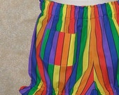 Sexy clown costume bloomers rainbow front patch pocket elastic waistband adult knickers cutie pie clown bright colored stripes festival wear