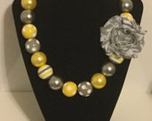 Yellow, Gray, and White Chunky bead necklace