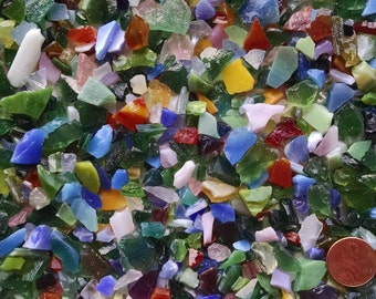 Tiny Stained Glass Pieces for Mosaics - Five Pounds - Glass Aggregate for Concrete