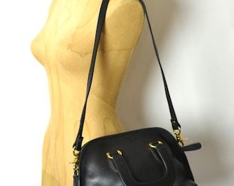 Vintage Black Leather Satchel Convertible Shoulder Bag