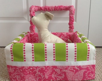 Dog Car Seat SMALL ***Ready Made  Hot Pink, Lime and White  - girly paisley and stripe *** by FancyFido
