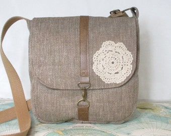 Doily lace -- Crossbody messenger bag // Vegan purse // Crossover // Field bag // Satchel // Grey // Adjustable strap // Ready to ship