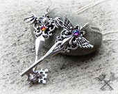 Angel and Demon / Key to my Heart Necklace / Couples Necklace Set / Best Friends Necklace / Couple Necklaces / Fantasy Key Necklace