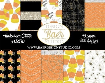 Digital Paper Halloween, Digital Scrapbook Paper, Glitter Digital Paper, Candy Corn Paper, Pumpkin Digital Paper, Spider digital paper