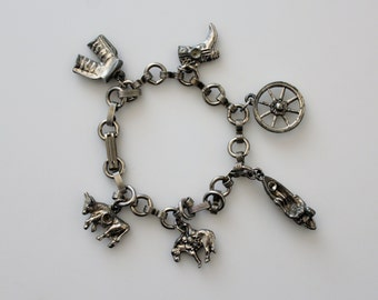 Vintage Charm Bracelet - Small Metal Western Charms - Country Western Charms