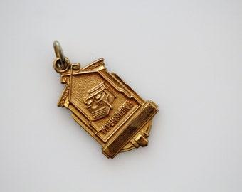 Vintage Brass Typewriter Charm - Art Deco Style Achievement College Charm