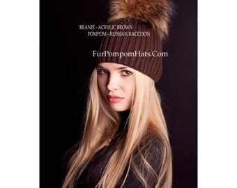 Handmade Fur Pompom Hat Russian Raccoon BROWN Knitted Base Beanie Women Arctic Store®