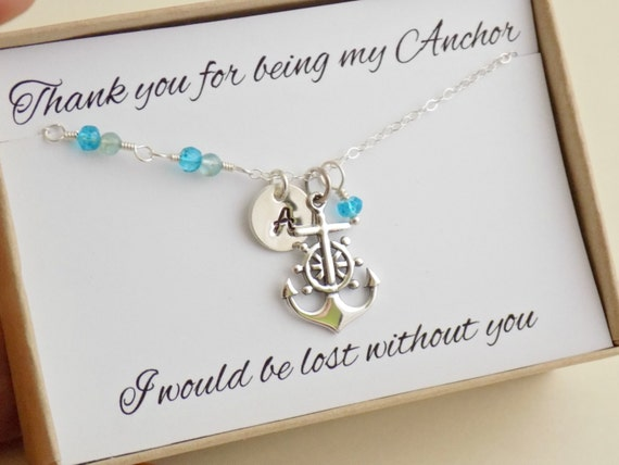 Thank You Gifts Wedding Helpers : similar to Nautical anchor necklace thank you for being my anchor gift ...