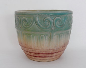 Nelson McCoy Scroll Patterned Two Tone Jardiniere Planter- 1920's