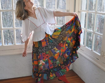 Kaleidoscopic Hand Painted Silk Maxi Skirt/Vintage 1980s/Swirling Peasant Gypsy Skirt/Colorful Silkscapes Skirt/Medium