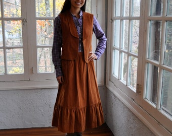 Retro Corduroy Midi Skirt and Vest Set/Vintage 1970s/Rust Brown Prairie Girl Two Piece With Purple Plaid Blouse/Size Small