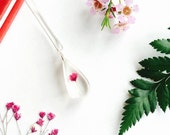 Babys Breath Tear Drop Necklace - Pendant Rain Gypsophila Flower Resin Jewellery Natural