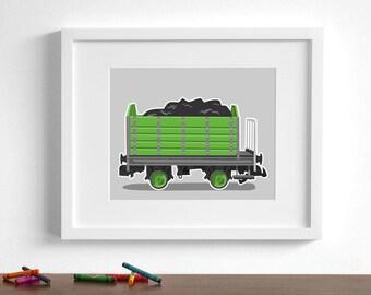 Boy art print - Vintage Train wall art - coal car - childrens wall art - pick your colors -railroad art locomotive art