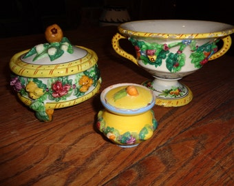 Antique Italian Majolica Pottery Collection with wonderful patina and great crackled, chipped finish with hand painted floral design