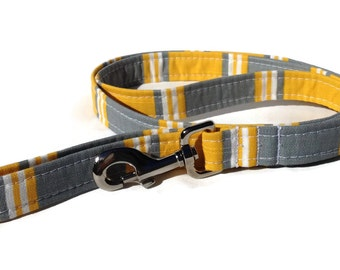 Hamptons Dog Leash in Yellow and Grey Stripe