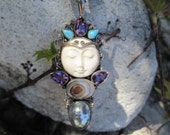 Bohemian Bone Face Goddess Necklace - Pearls, Turquoise and Vintage Beads Necklace with Goddess Pendant