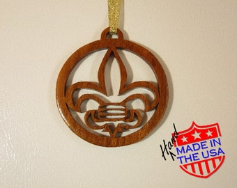 Fleur de Lis Christmas Ornament. Hand Cut from Real Hardwood. Everyone wants to find gifts made in the USA.