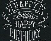 Embroidered Blackboard Style Pillowcase - Happy Birthday- Chalkboard Look  Birthday Home Decor Gift