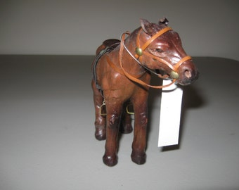 Leather Horse Figurine Saddle and Bridle
