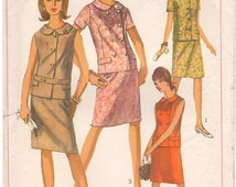 1966 - Simplicity 6917 Vintage Sewing Pattern Size 14 Bust 34 Two Piece Dress Suit Double Breasted Sleeveless Slim Skirt