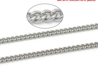 5M Curb Chain - 3x2mm - Antique Silver - Link Soldered - 15Feet - Ships IMMEDIATELY from California - CH643