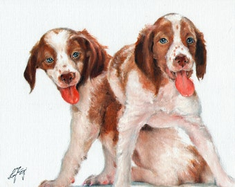 Original Oil Art BRITTANY SPANIEL Portrait Painting Artist Signed Artwork Puppy Dog