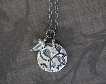 SUMMER SALE Charm Necklace, Botanical, Floral, Blue Quartz, Gemstone Necklace, Sterling Silver, Pendant, Rustic, Boho, 17 Inch, by Dezine