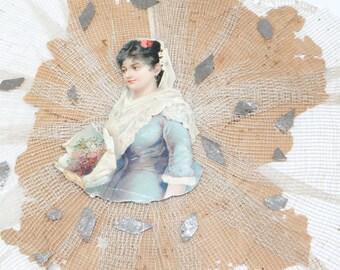 1800's Victorian Die Cut Scrap Ornament, Antique Gauze Lace for Christmas