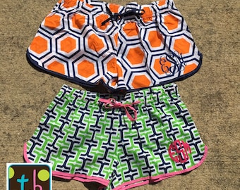 Personalized Monogram Ladies Pajama Shorts Women's PJ Set Lounge Shorts Boxer Shorts