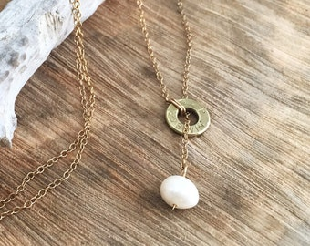 Bullet Lariat Necklace, 14k Gold Filled Necklace, Freshwater Pearl Lariat Necklace