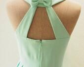 Mint Green  Dress, Mint Green Party Dress, Audrey Hepburn Style Dress, Mint Bridesmaid Dress, Wedding Summer Cut Off Back Dress, Love Potion