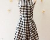 Shirt Dress Black Gingham Dress Vintage Style Dress Summer Dress Sundress Black Party Dress Dancing Dress XS-XL