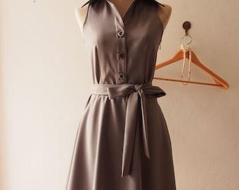 DOWNTOWN Gray Shirt Dress Vintage Modern Dress Gray Sundress swing Skirt Casual Working Dress Bridesmaid Dress, custom