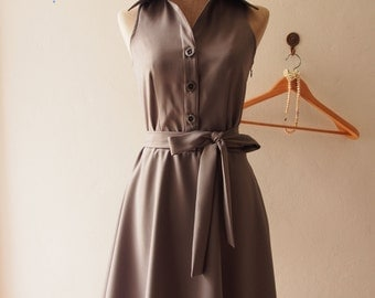 DOWNTOWN - [Gray Summer Dress], Dark Gray Shirt Dress, [Gray Bridesmaid Dress], Midi Dress Casual Dress, 1950 Inspired Dress, XS-XL,Custom