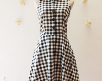 Shirt Dress Black Gingham Dress Vintage Style Dress Summer Dress Sundress Black Party Dress Dancing Dress XS-XL