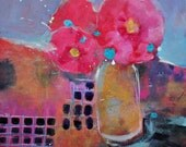 "Small Modern Still Life Painting, Original Acrylic Artwork, Red Flowers ""Hibiscus"" 8x8"
