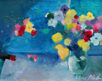 "Abstract Floral Painting on Canvas, Small Blue Abstract, Original Acrylic Painting ""Flowers in a Blue Room"" 11x14"