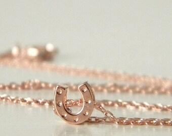 Tiny Rose Gold Horseshoe Charm Necklace