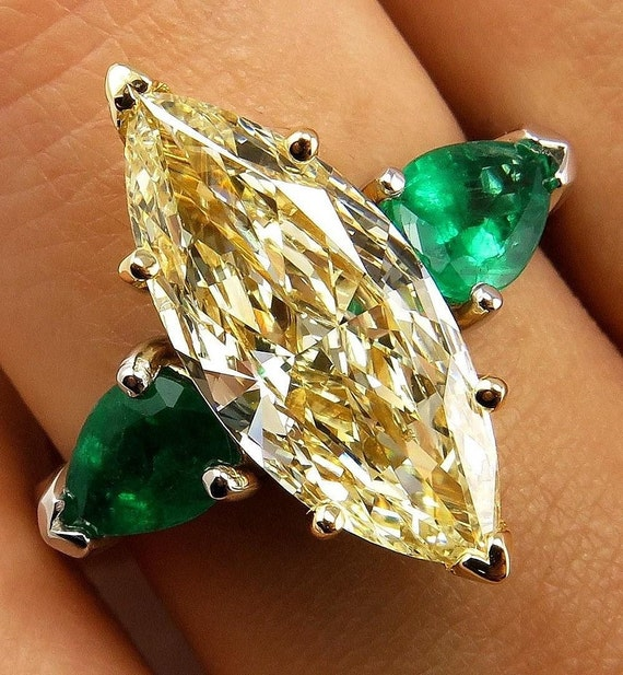 Estate Canary 4 63ctw Natural Fancy Yellow Marquise Diamond