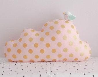 Customized Cloud birdie pillow, cloud cushion, nursery decor, baby pillow, decorative cloud pillow, shower gift idea, made to order
